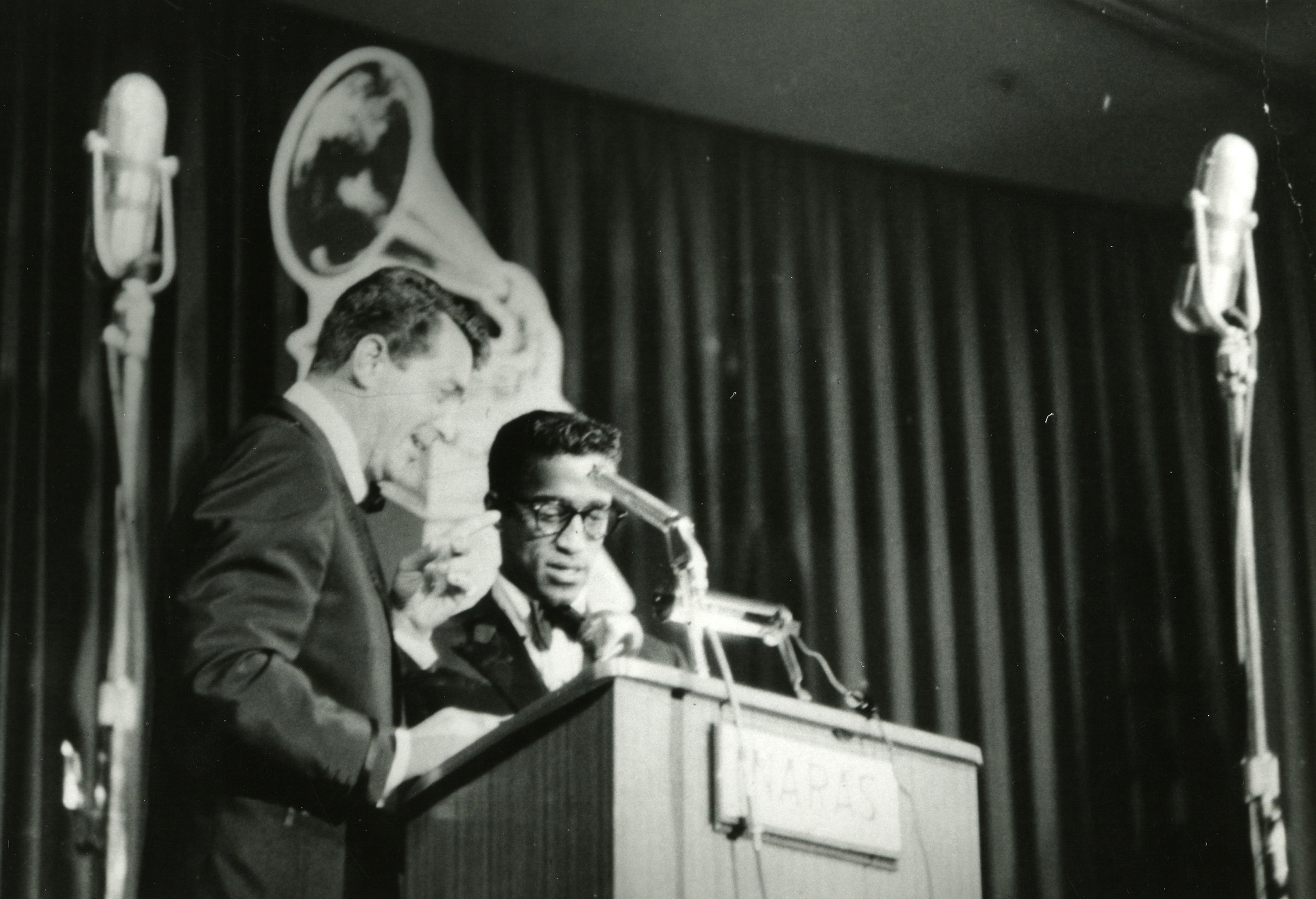 Dean Martin and Sammy Davis Jr. at the 1st GRAMMY Awards