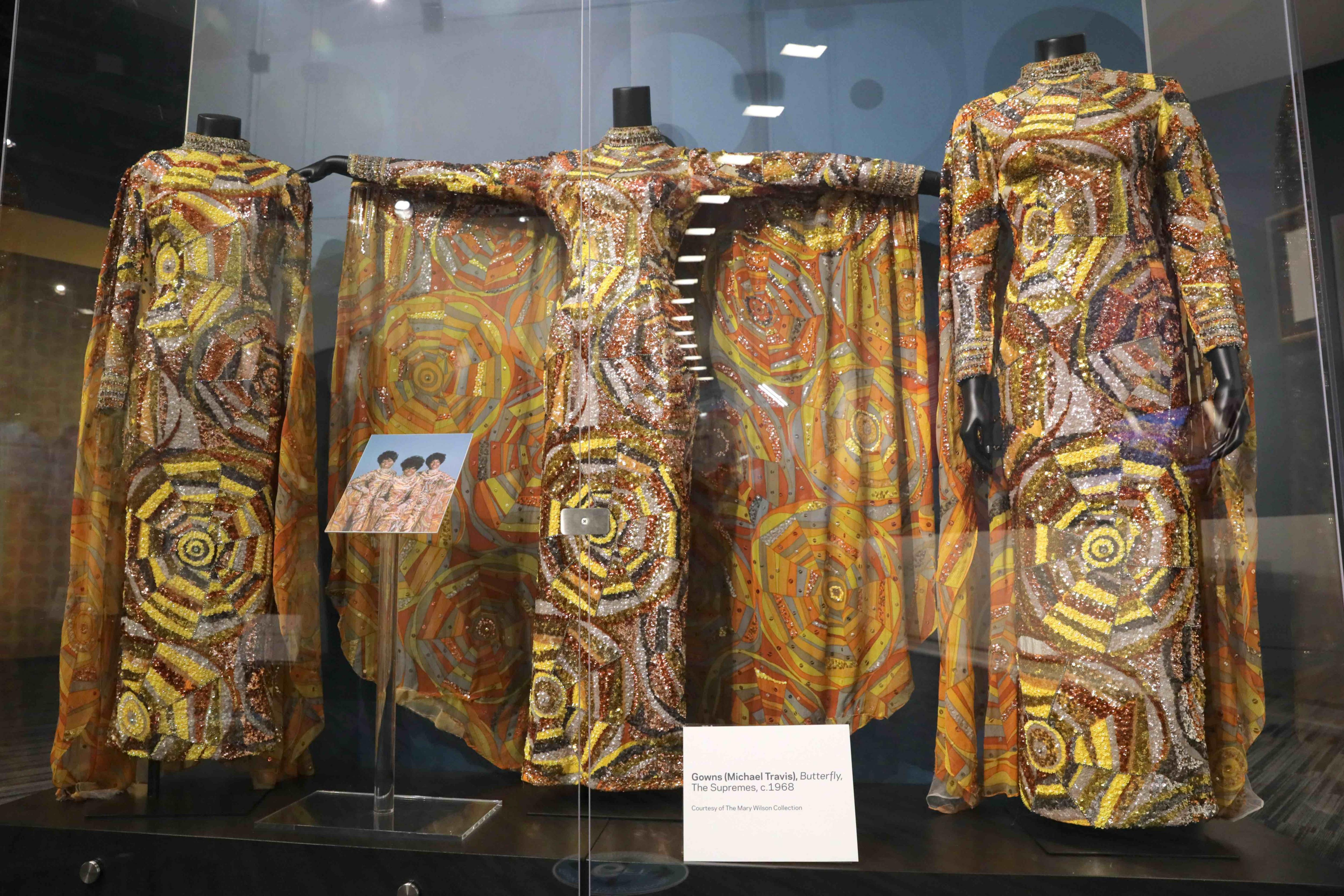 The Supremes' butterfly gowns on display at GRAMMY Museum