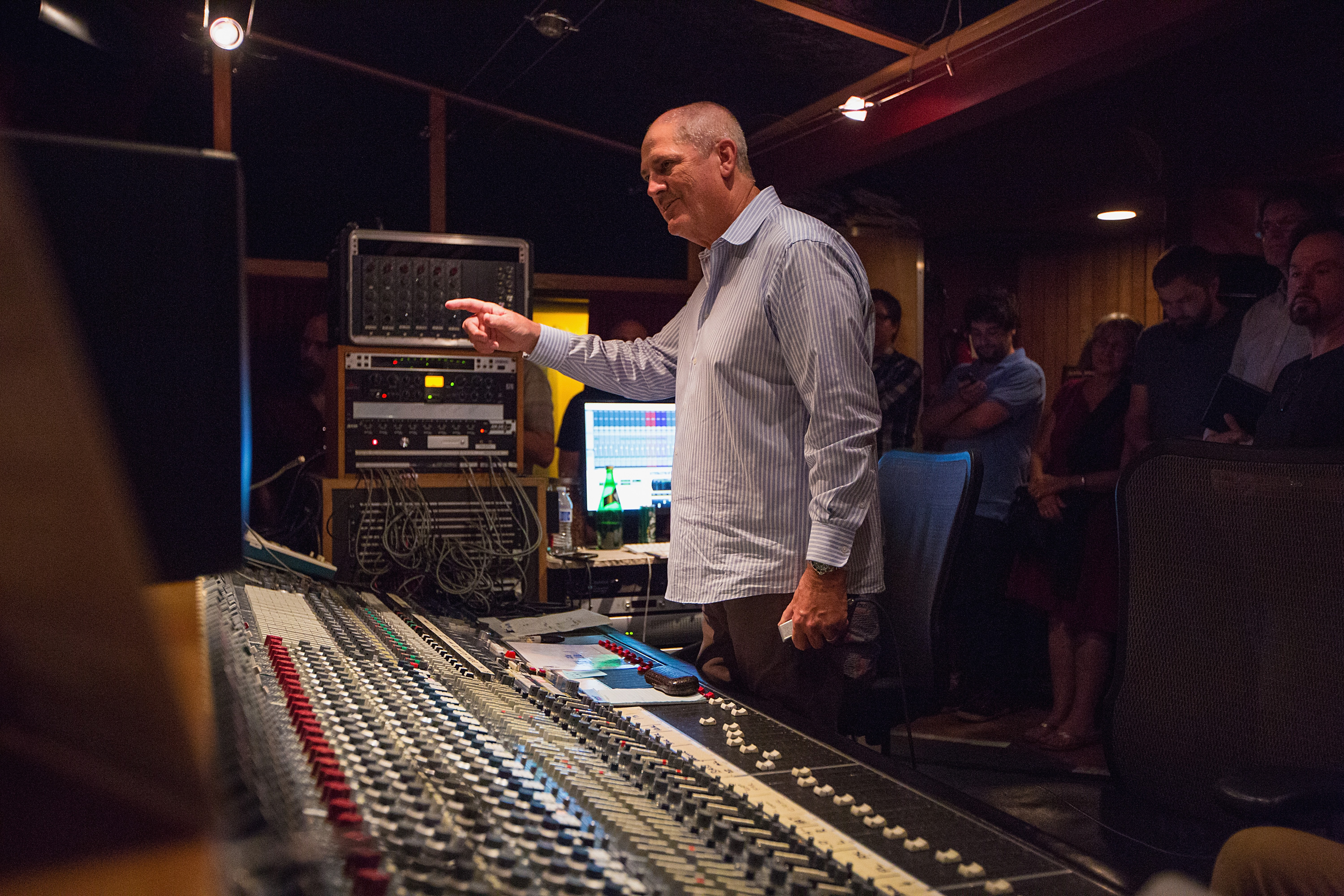 Producer Mike Clink at work in the recording studio