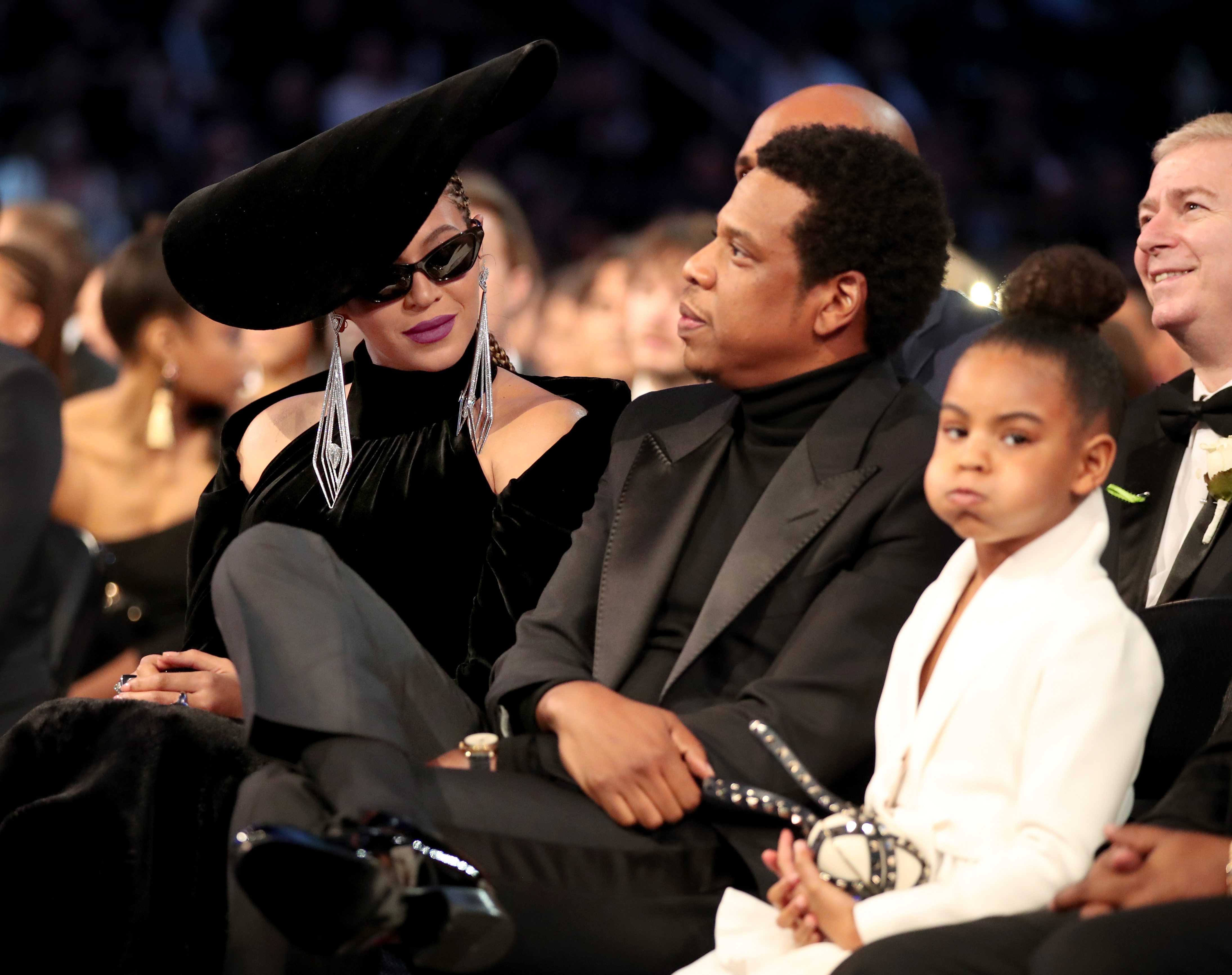 Beyonce, Jay-Z, and Blue Ivy Carter at the 60th GRAMMY Awards in 2018