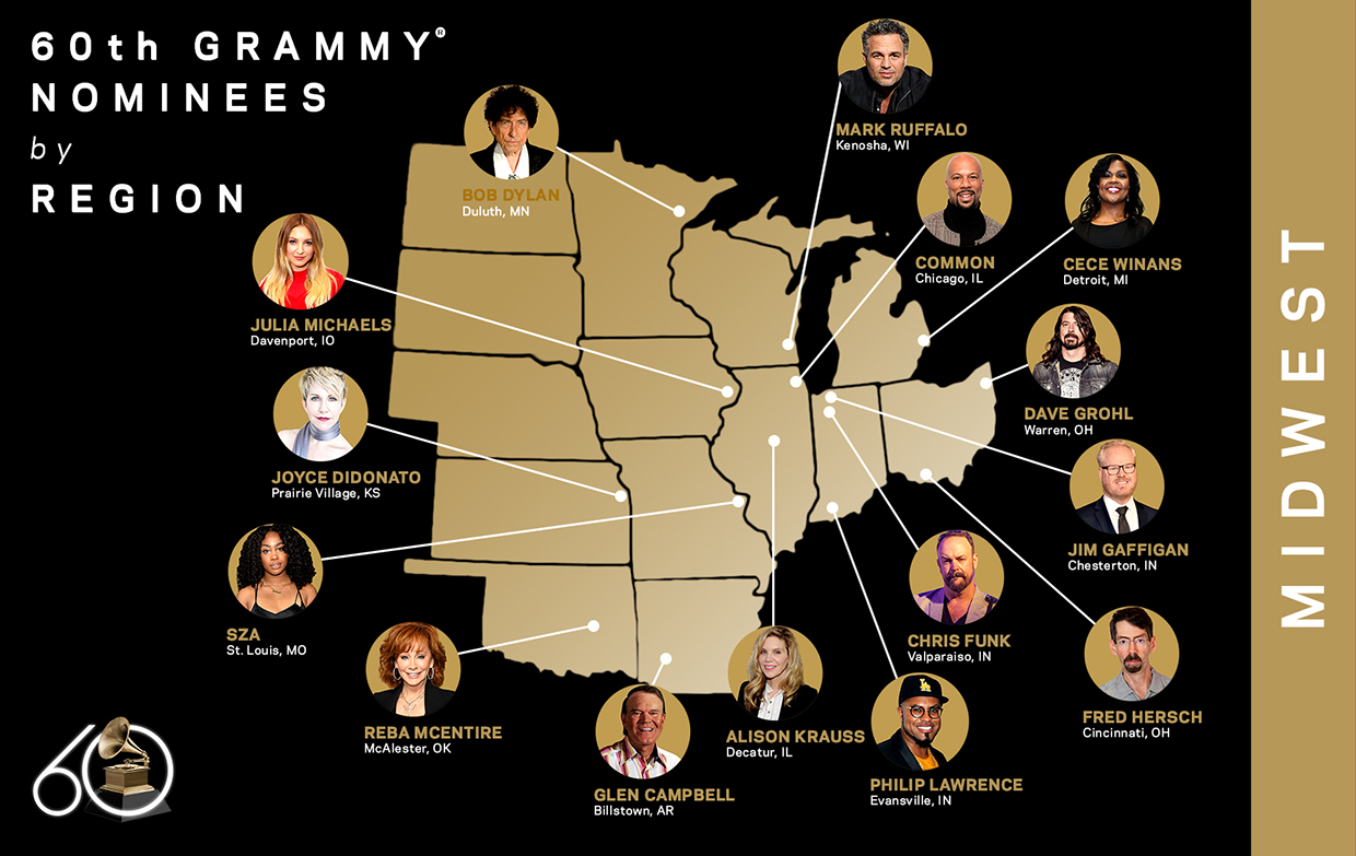 60th GRAMMY Nominees, Midwest
