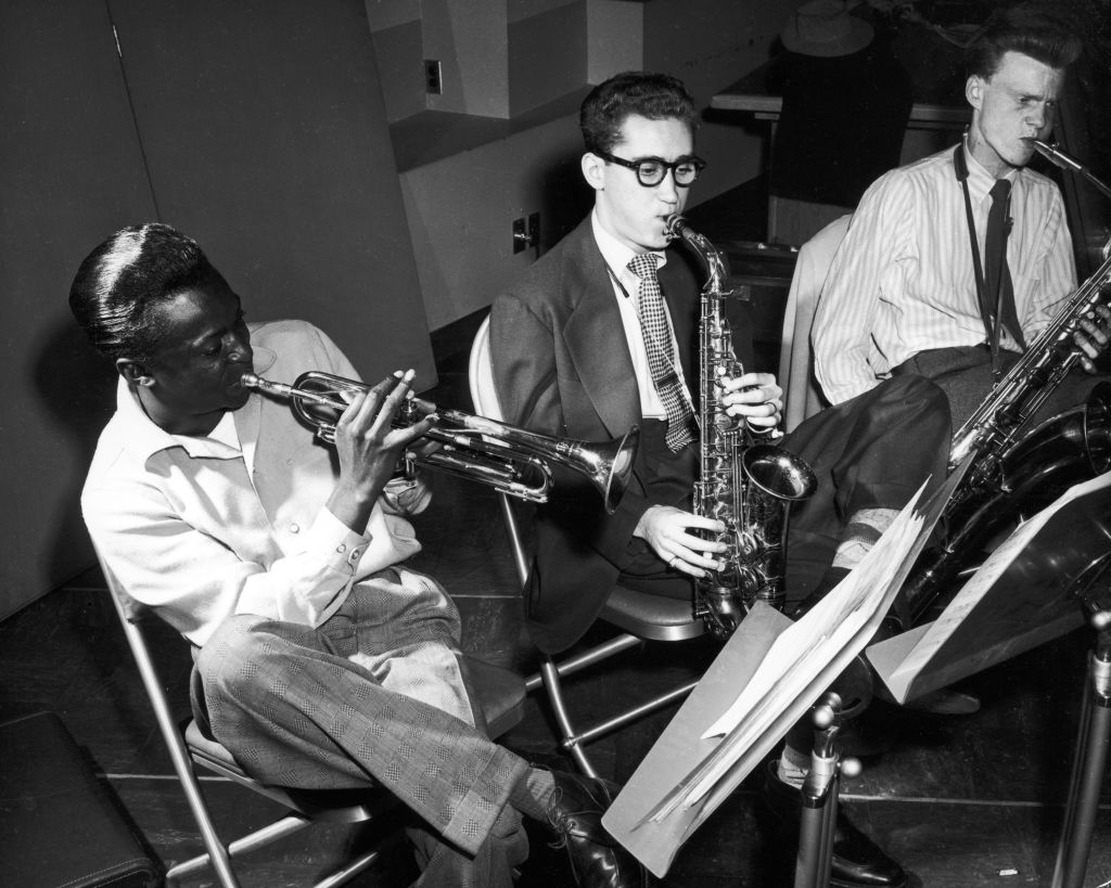 "Miles Davis, Lee Konitz and Gerry Mulligan at the ""Birth of the Cool"" recording sessions in 1949"