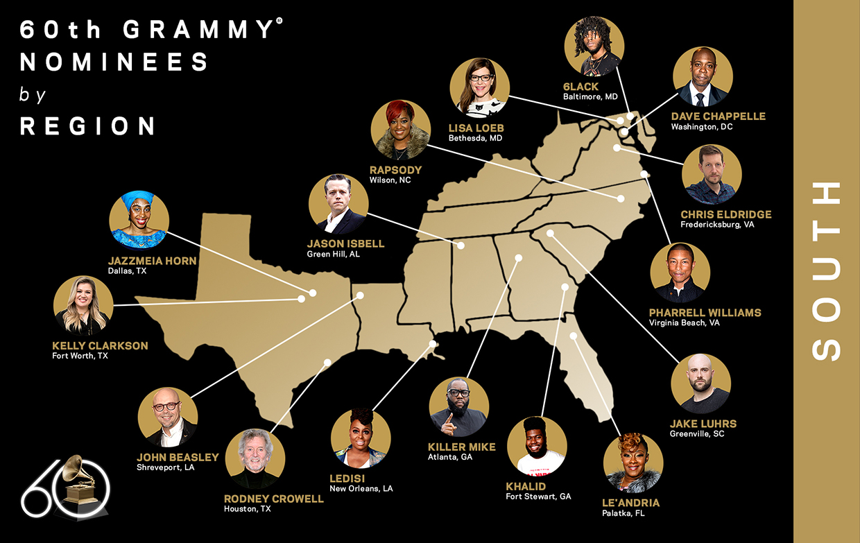60th GRAMMY Nominees, South Region