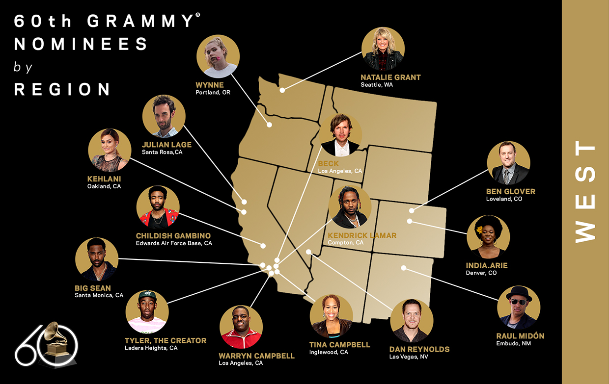 60th GRAMMY Nominees, West Region