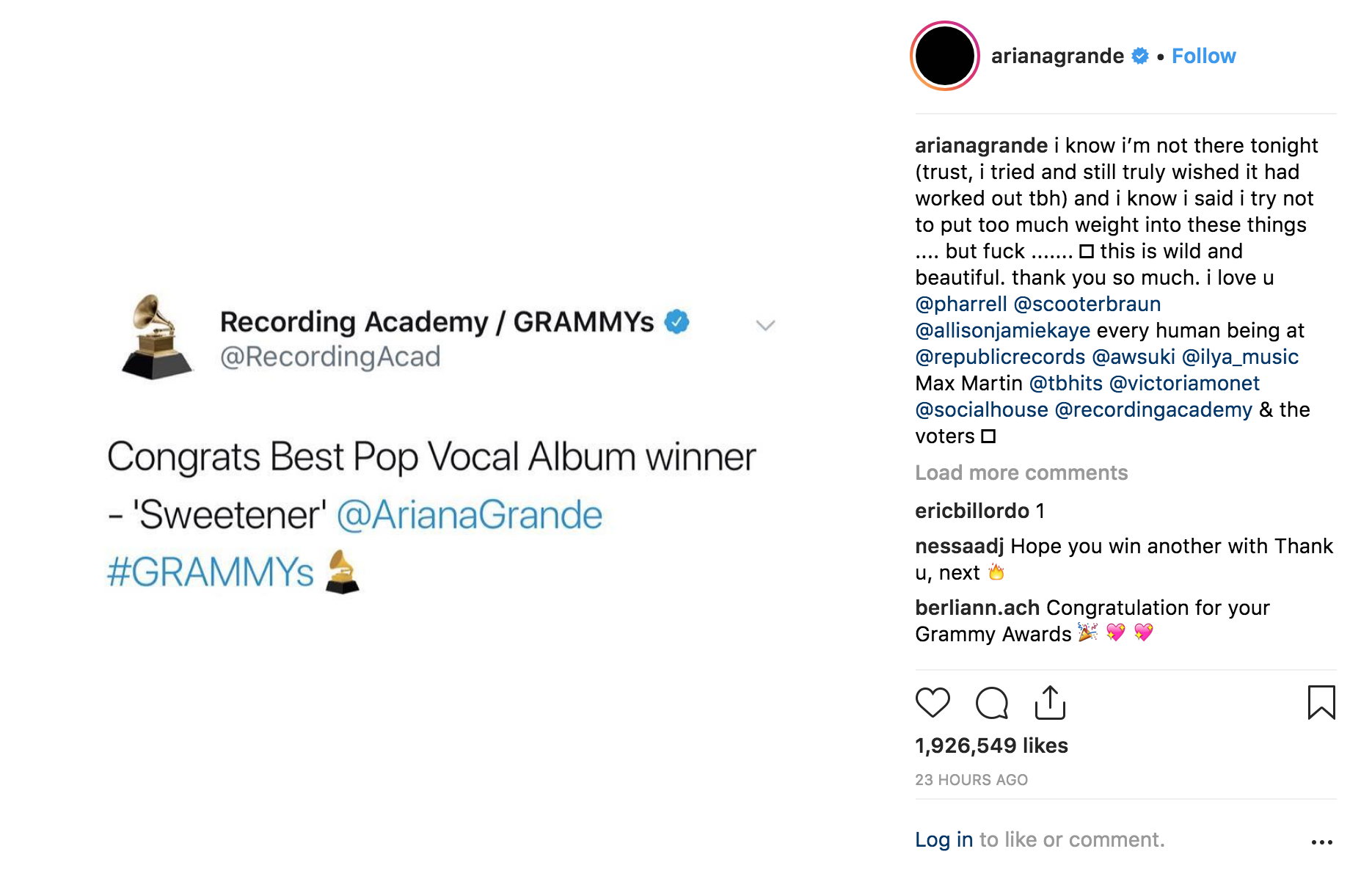 Ariana Grande GRAMMY Thank you tweet