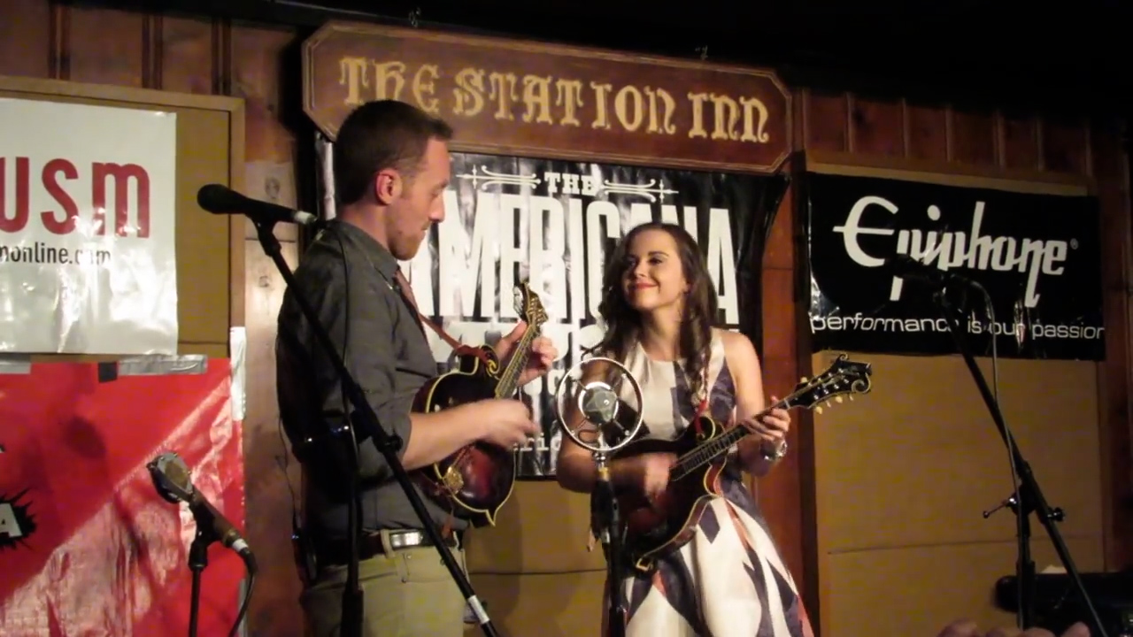 Sierra Hull (R) performs with Justin Moses (L) at The Station Inn in Nashville, Tenn.
