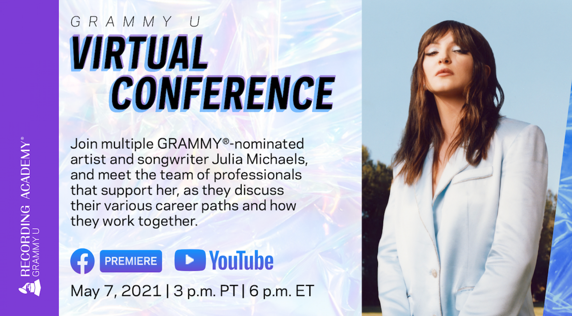 Artwork for 2021 GRAMMY U Virtual Conference Featuring Julia Michaels