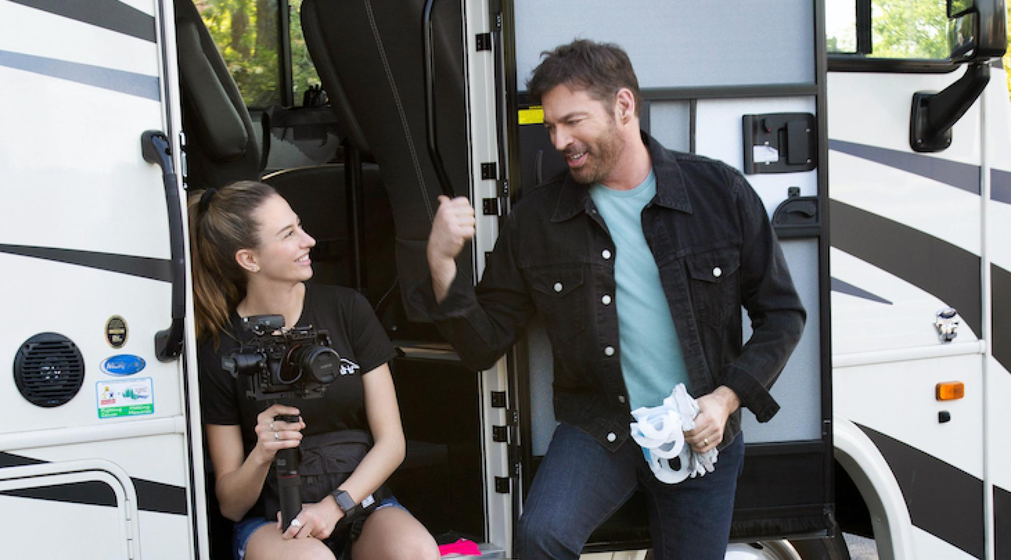 "Harry Connick, Jr. (R) and Georgia Connick (L) filming ""UNITED WE SING"" on location for CBS"