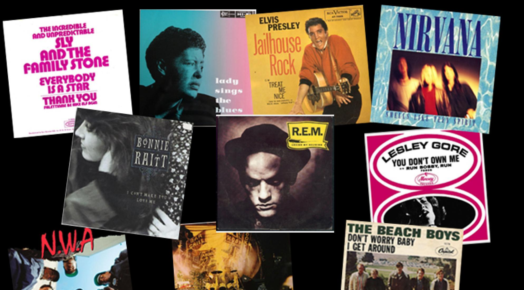 Collage of GRAMMY Hall Of Fame inductees' album covers