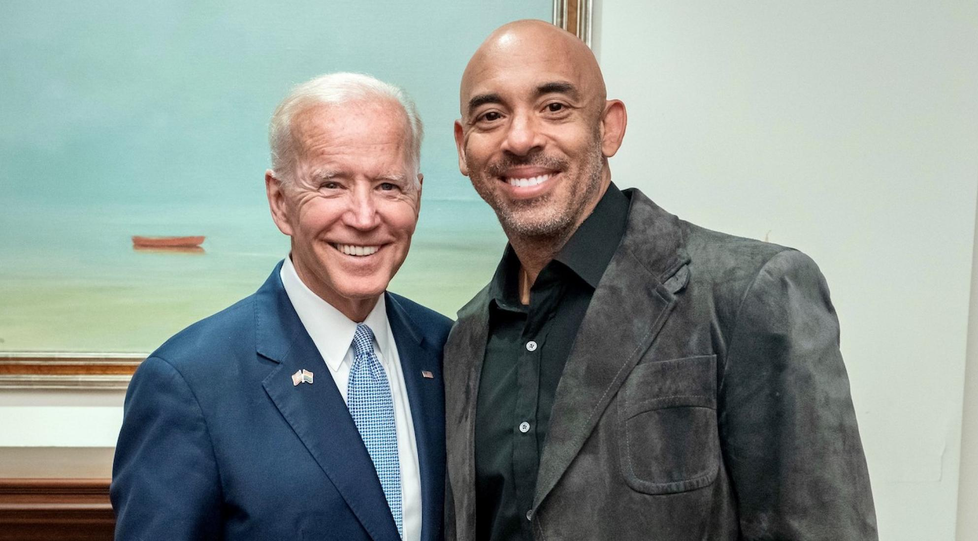 President-elect Joe Biden (L) and Harvey Mason jr. (R), Chair and Interim President/CEO of the Recording Academy