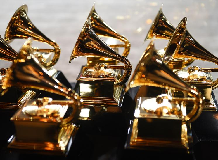 Photo of GRAMMY trophies at the 60th Annual GRAMMY Awards in 2018