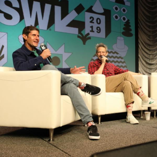 Michael Diamond (L) and Adam Horovitz (Center) of Beastie Boys speak at SXSW 2019