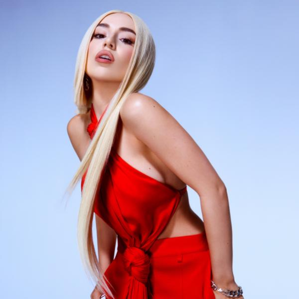 Ava Max poses in an all-red look