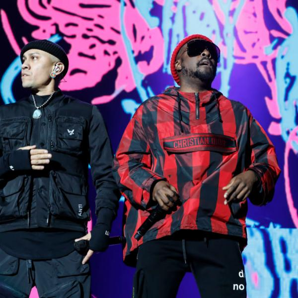 Taboo (L) and Will.I.Am (R) of The Black Eyed Peas perform in 2019
