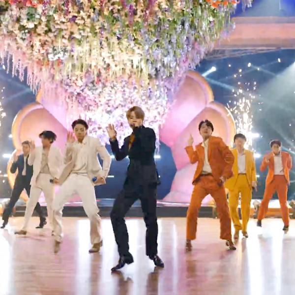 BTS at 2021 GRAMMYs on colorful stage
