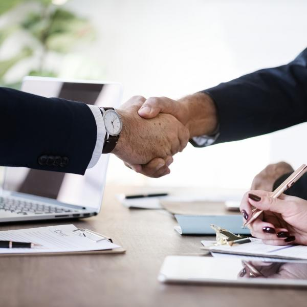 A handshake over a business deal