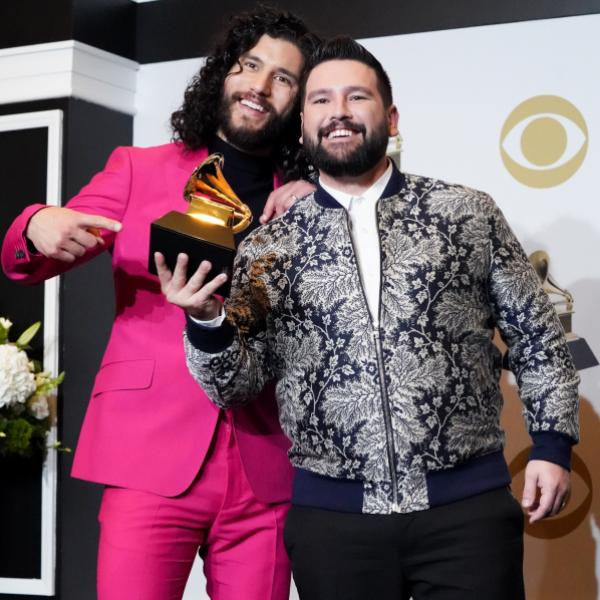 Dan + Shay pose backstage with their GRAMMY at 2020 GRAMMY Awards show