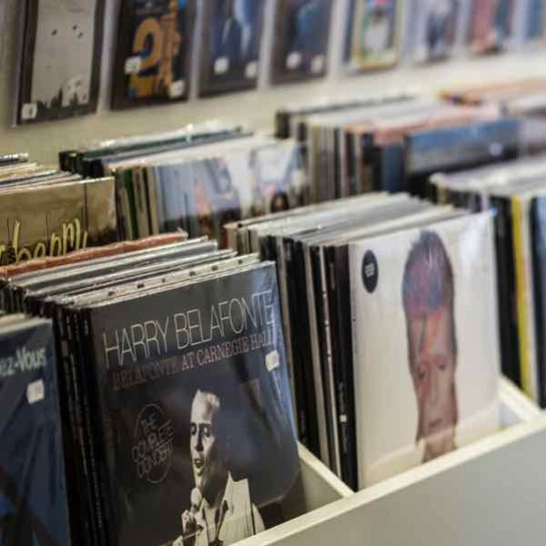 Vinyl records in a store