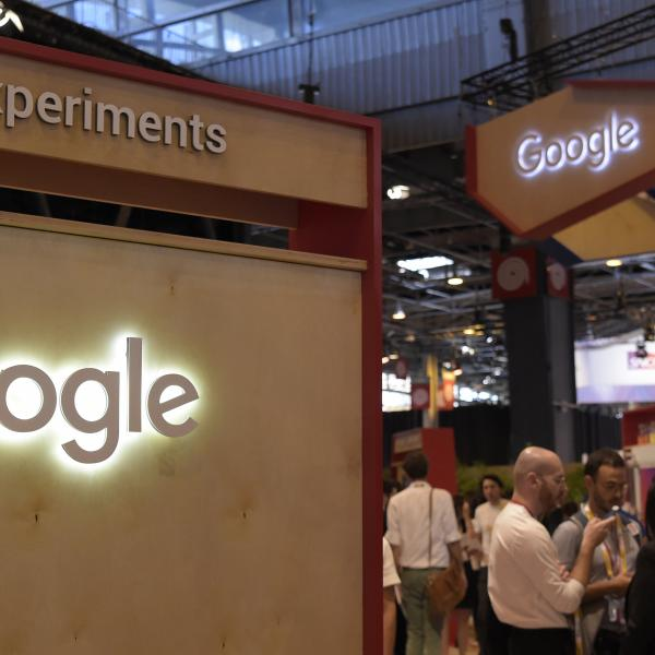 Google signs lit up at exhibition