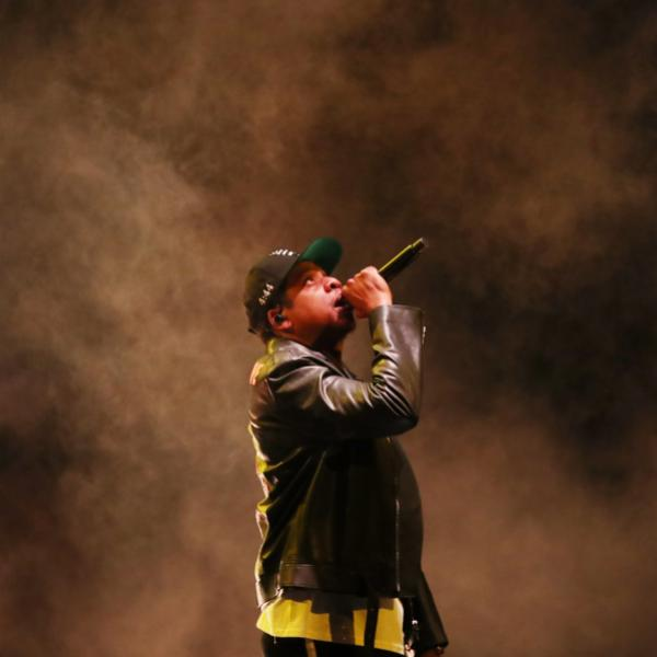 Jay-Z photographed onstage in 2017