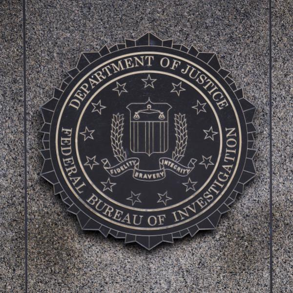 The FBI seal displayed outside FBI headquarters in Washington, D.C.