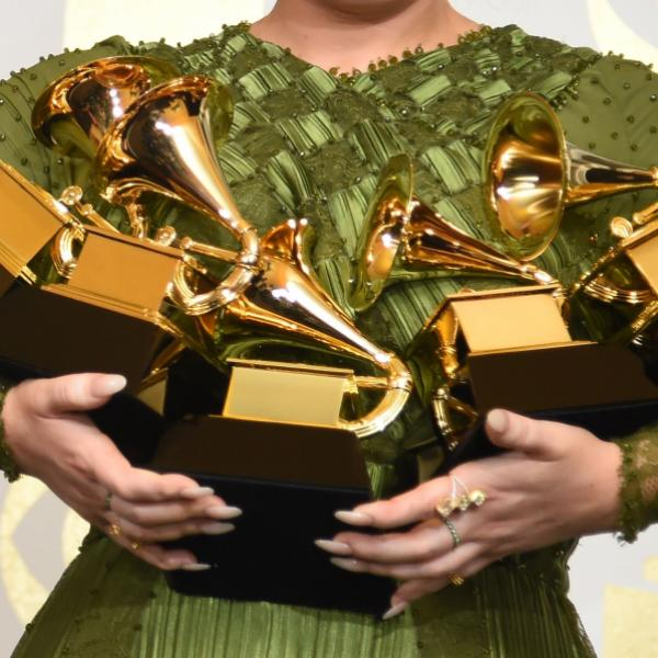 Photo of GRAMMY trophies at the 59th GRAMMY Awards in 2017