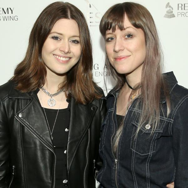 Larkin Poe pose at a Recording Academy event