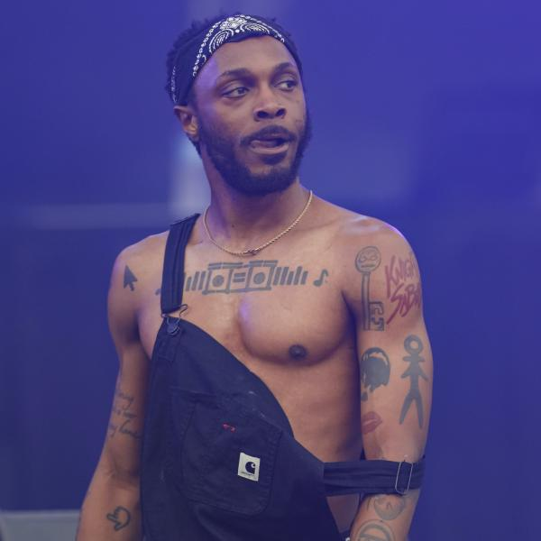 rapper JPEGMAFIA poses on stage wearing overalls