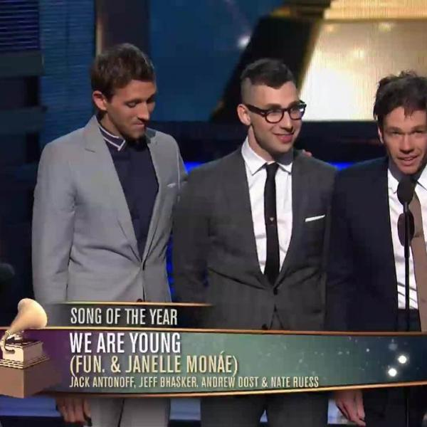 """Fun. Win 2013 Song Of The Year GRAMMY for """"We Are Young"""""""