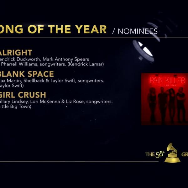 Song Of The Year: 58th GRAMMY Nominees