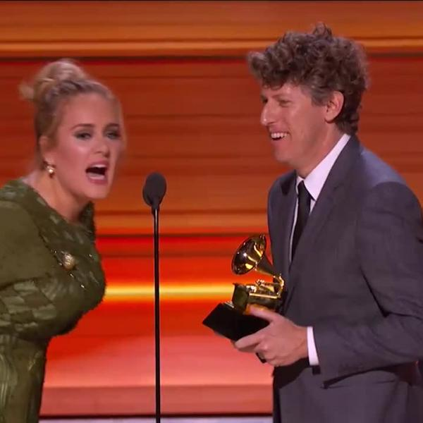 "Adele wins Record Of The Year GRAMMY for ""Hello"""