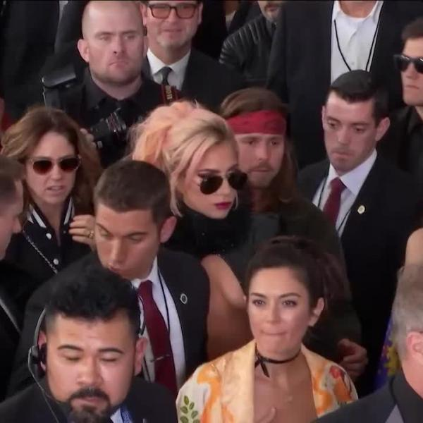 Lady Gaga walks 2017 GRAMMY red carpet