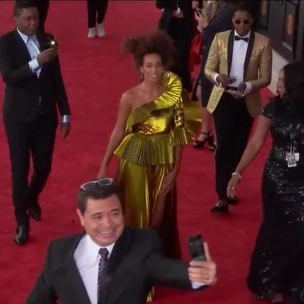 Solange walks the 2017 GRAMMY red carpet
