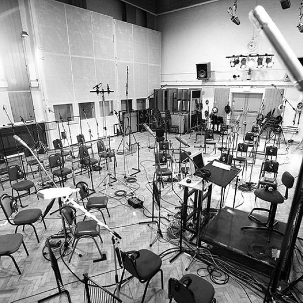Studio Two at Abbey Road ready for a recording session