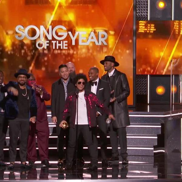 Watch: Bruno Mars' Win For Song Of The Year