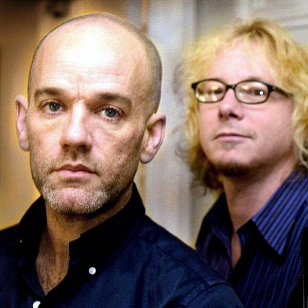 (L to R) Michael Stipe, Mike Mills and Peter Buck of R.E.M.