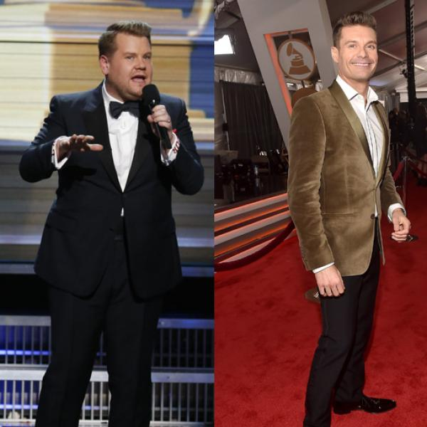 Corden and Seacrest at the GRAMMYs