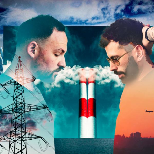 DJ duo Soul Clap are superimposed over energy lines and factory towers