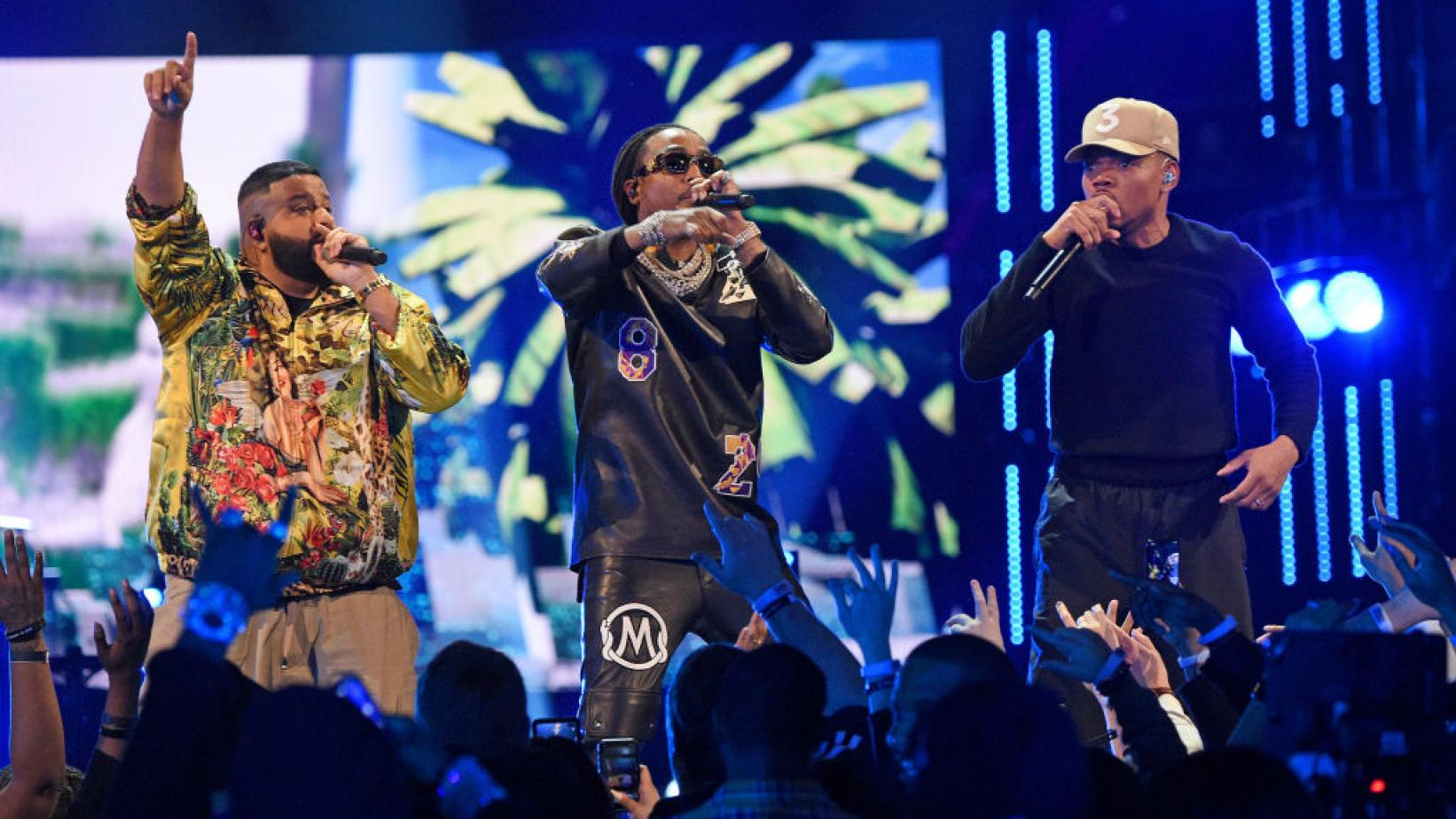 DJ Khaled, Quavo, and Chance The Rapper perform at the 2020 NBA All-Star Game