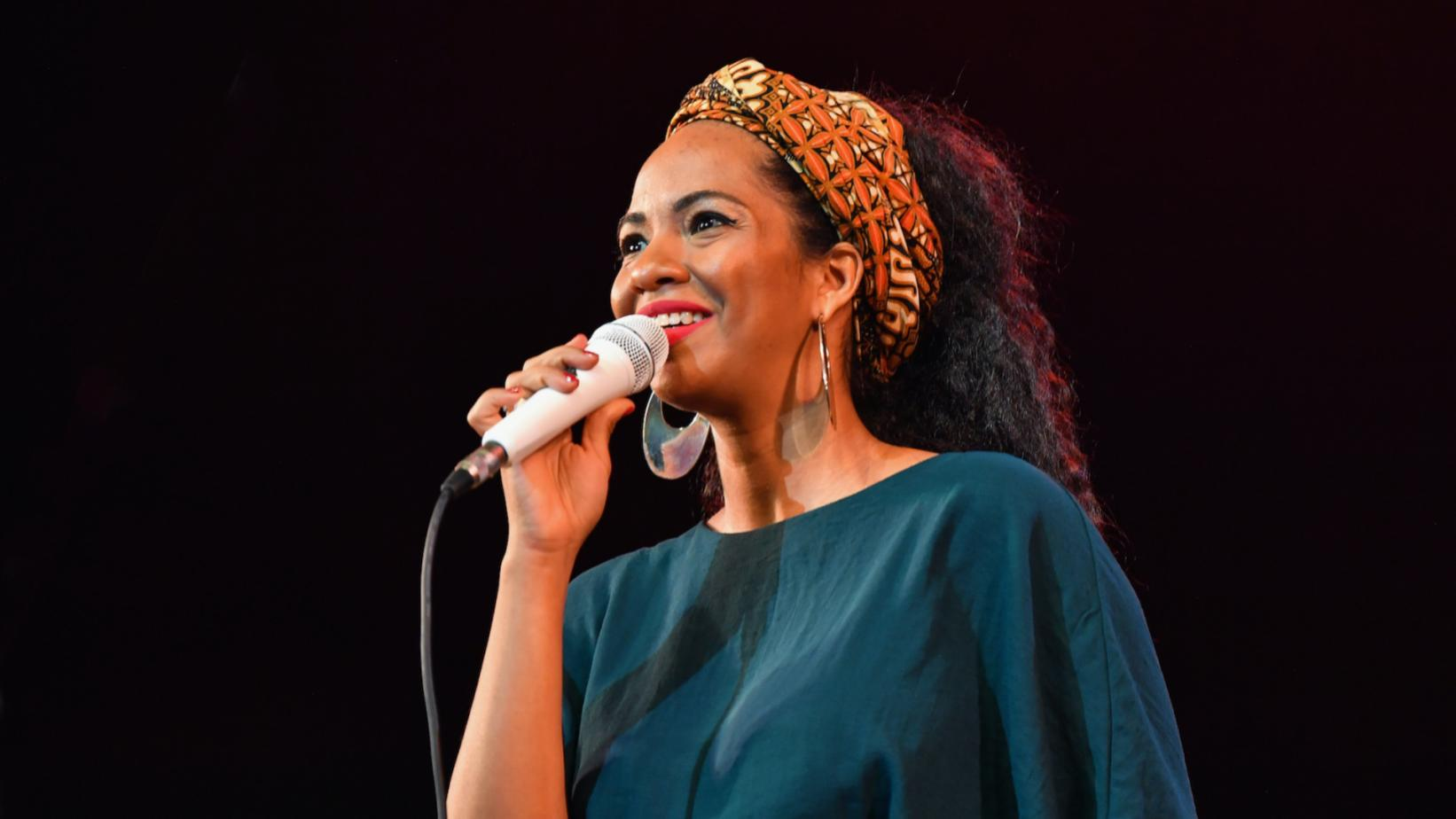 Photo of Eme Alfonso performing at the National Theatre of Cuba during the 33rd International Jazz Plaza Festival on January 21, 2018, in Havana, Cuba