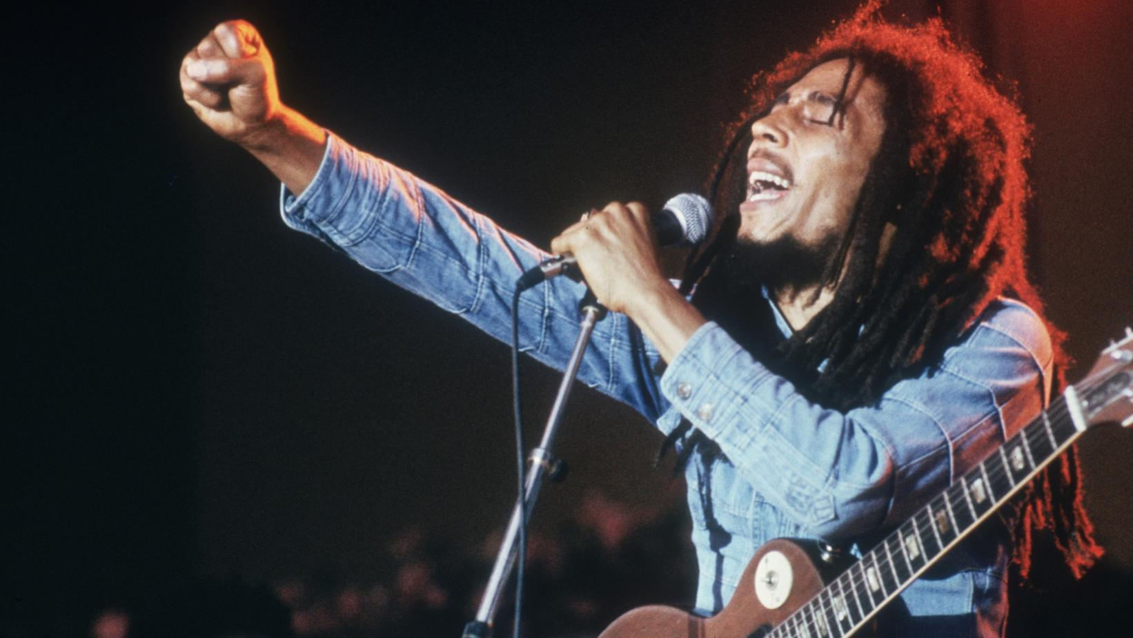 Bob Marley photographed in concert
