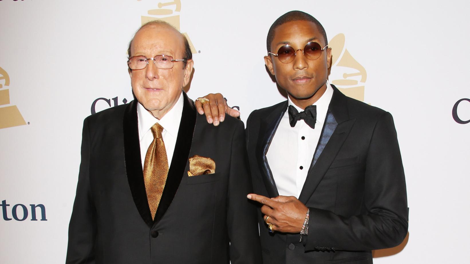 Clive Davis, Pharrell Williams at the 2015 Pre-GRAMMY Gala