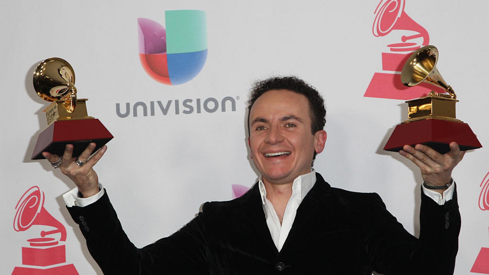 Fonseca celebrating his Latin GRAMMY wins