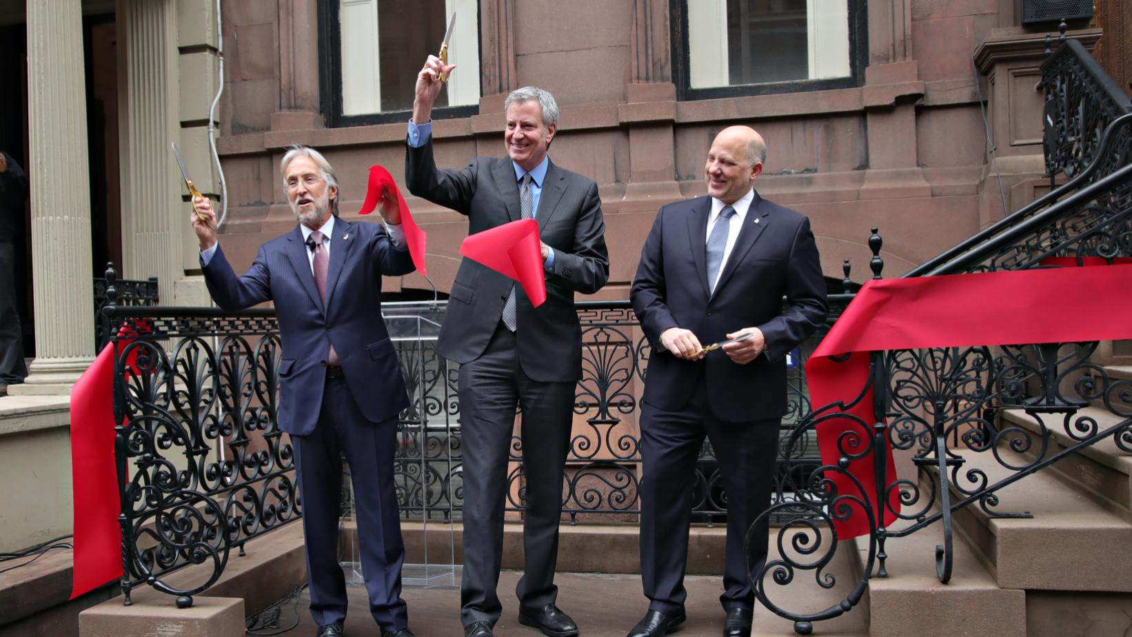 Neil Portnow, Mayor Bill de Blasio and John Poppo in New York