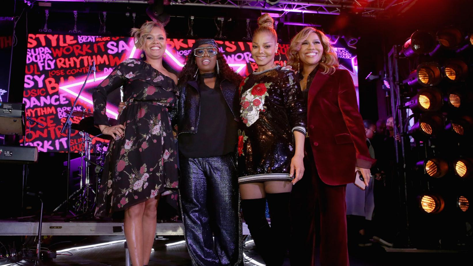 Essence Entertainment Director Cori Murray, Missy Elliott, Janet Jackson, and producer Mona Scott-Young