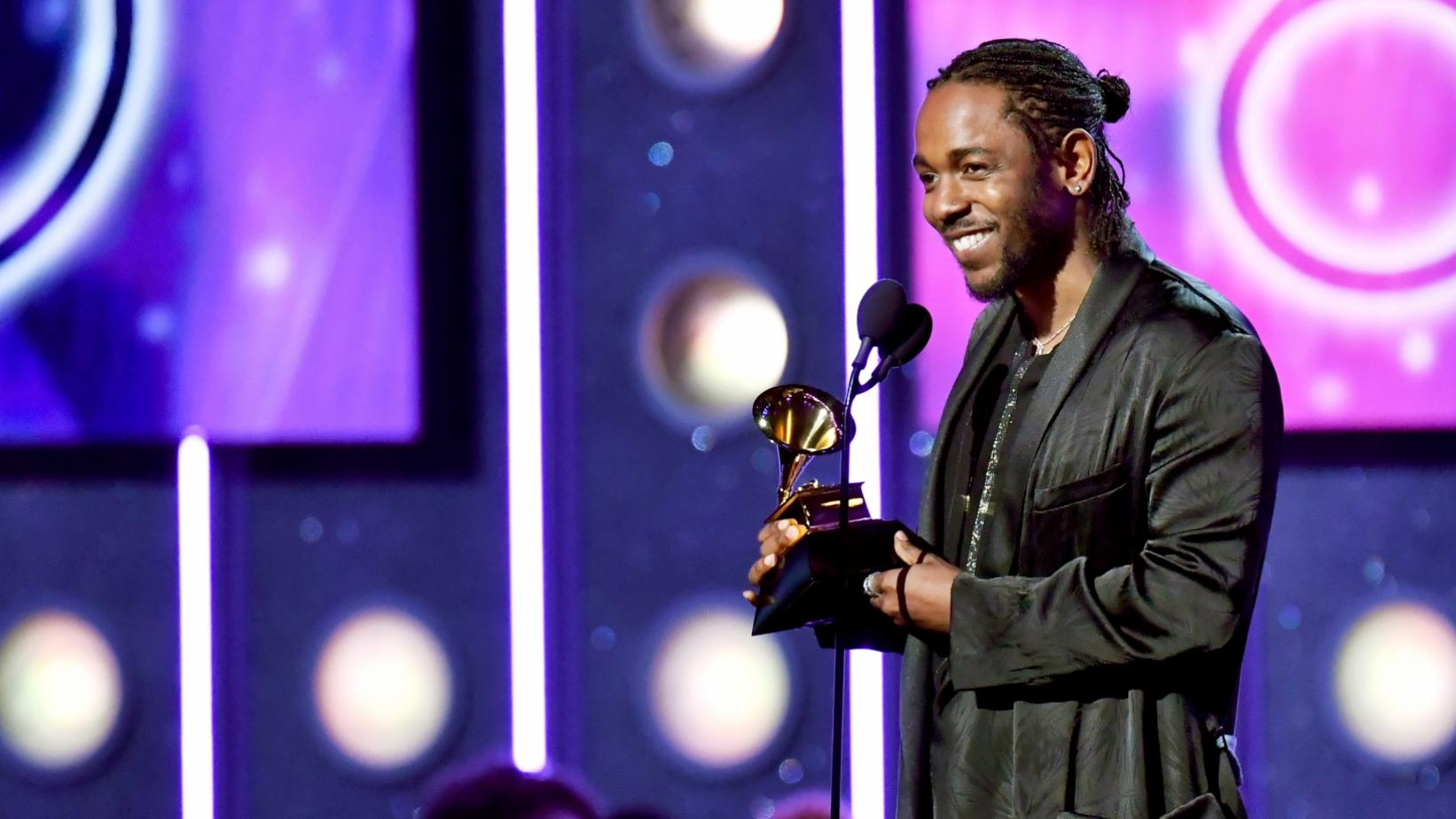 Kendrick Lamar on stage at the 60th GRAMMY Awards