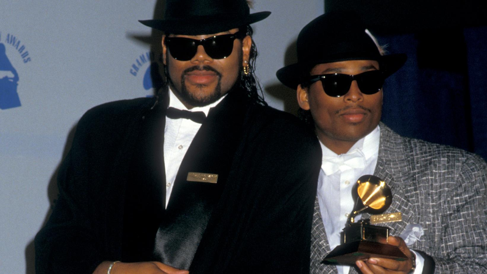 Jimmy Jam & Terry Lewis pose with their GRAMMY backstage at 1987 GRAMMYs