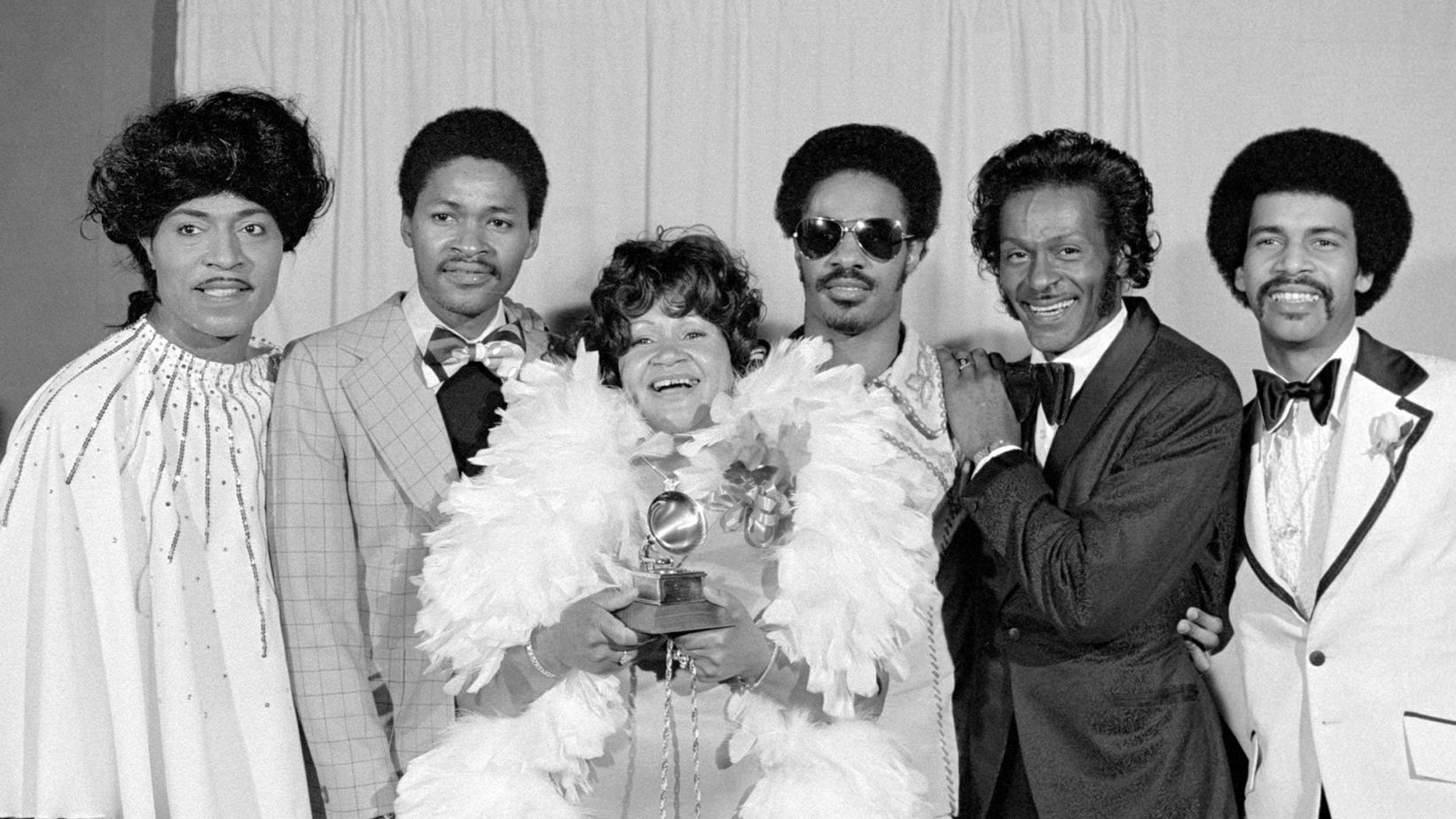 Stevie Wonder, Lula Mae Hardaway, Chuck Berry, Little Richard at the 1974 GRAMMYs