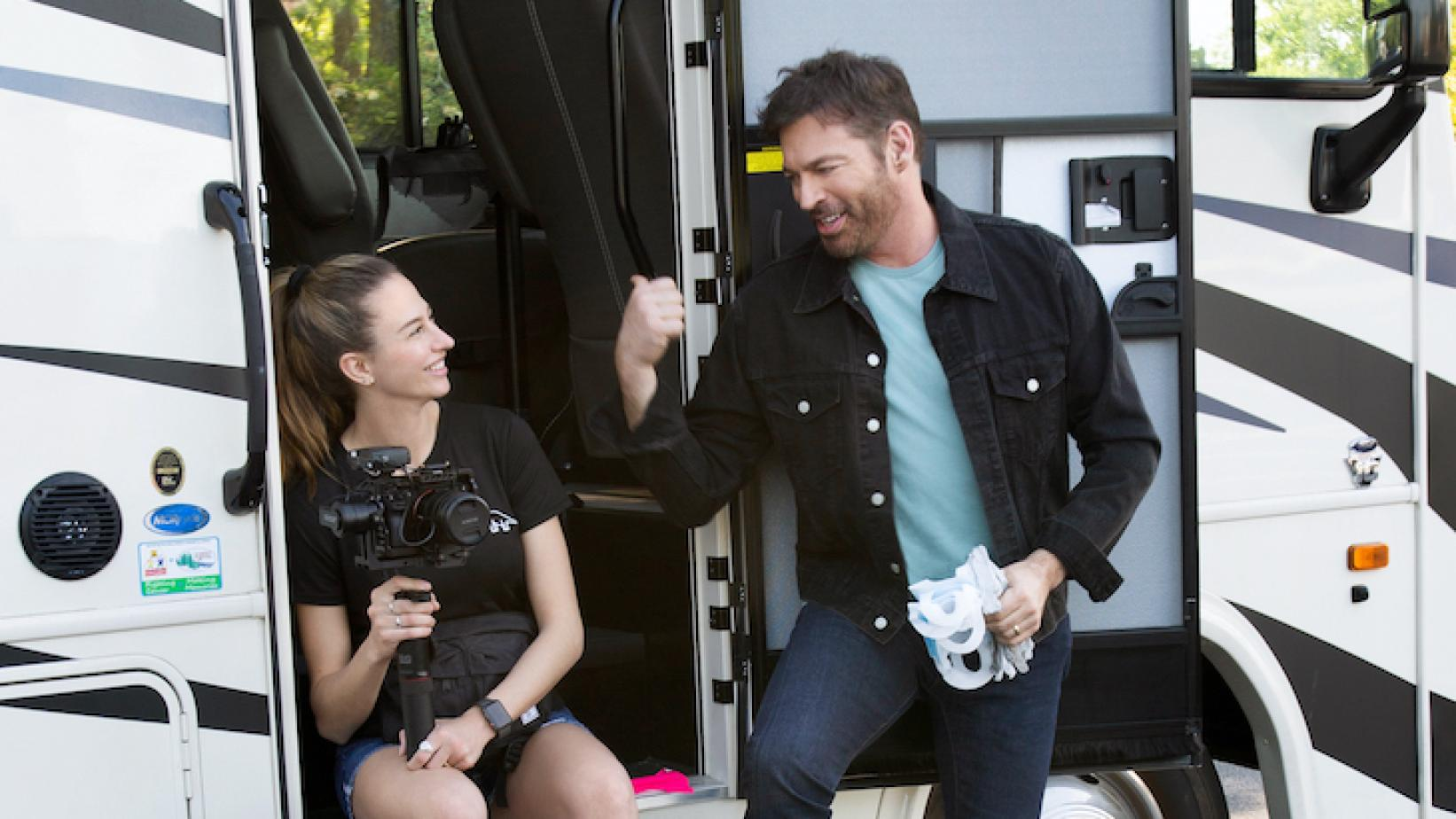 """Harry Connick, Jr. (R) andGeorgia Connick (L)filming """"UNITED WE SING"""" on location for CBS"""