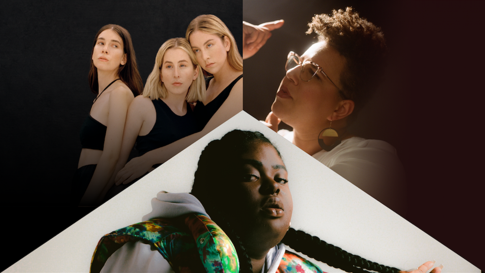 Clockwise from top-left: Haim, Brittany Howard and CHIKA